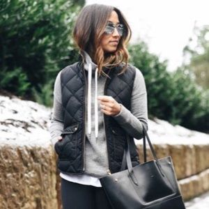 Black Quilted Slim Puffer Vest